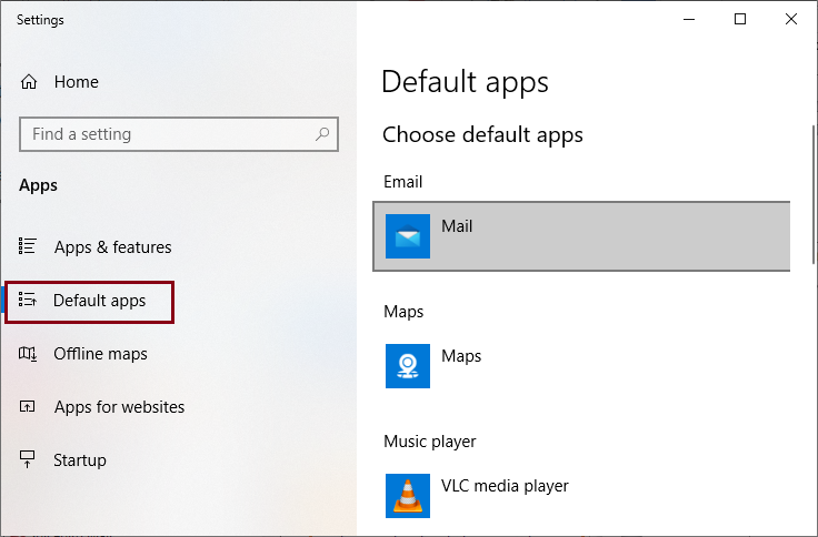 Select the Default apps tab and under Email option