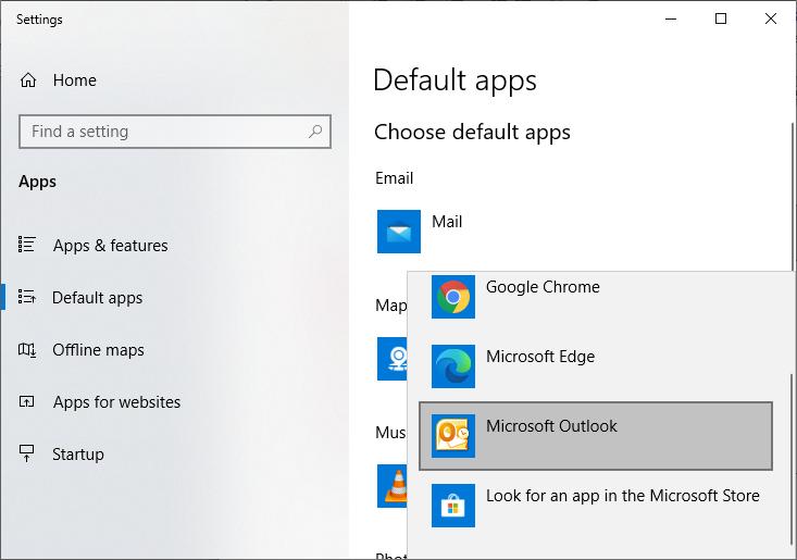 Select Microsoft Outlook