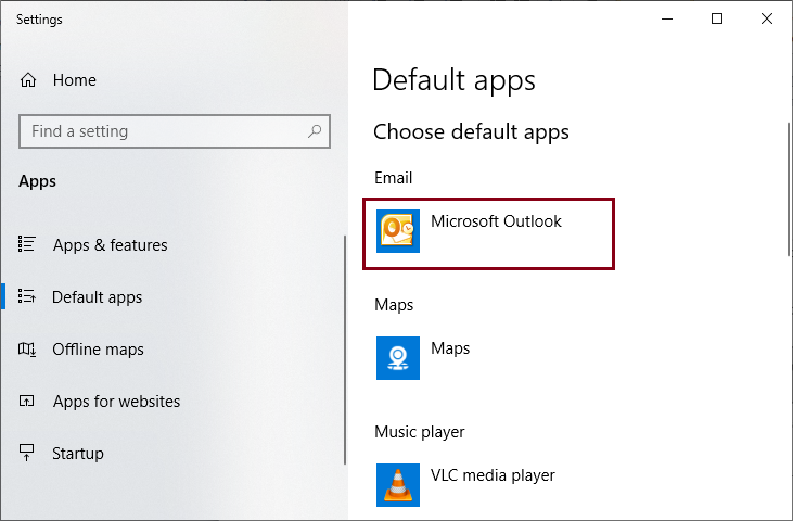 Microsoft Outlook is set as the default email client