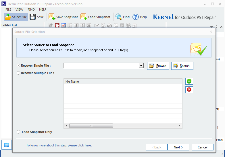 Main interface of Kernel for Outlook PST Repair software