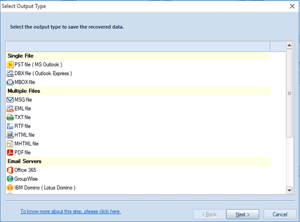 Selection of the output type to save data of PST File(s)