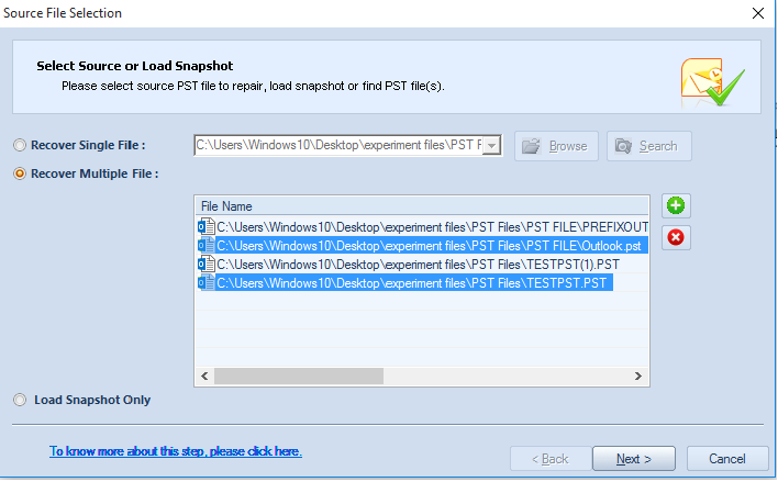Elimination of default selected PST Files