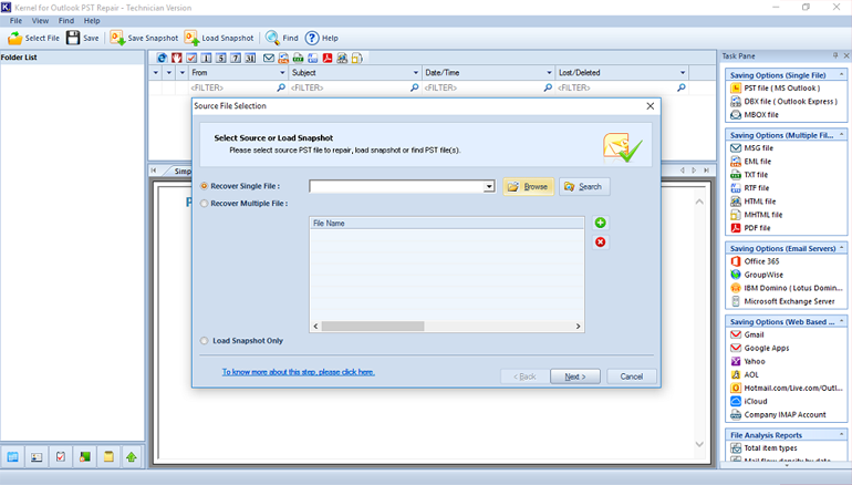 Specify the drive and select the required PST File