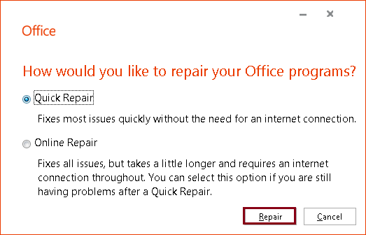 preferences to repair Outlook