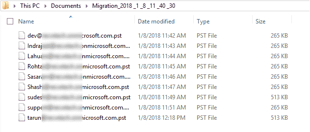 Office 365 mailboxes are stored in separate PST files