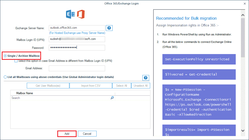 Restore or import PST file to a single Office 365 mailbox.