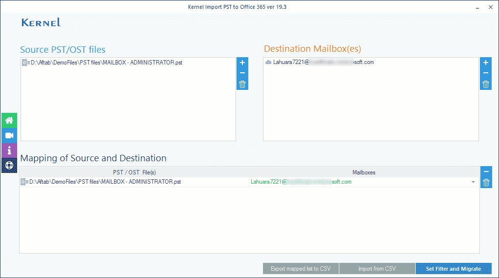 Map the source PST file to target Office 365 mailboxes