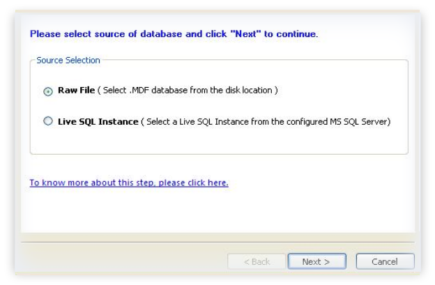 Select source of database