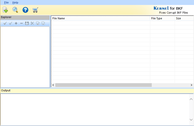 Welcome screen of the Kernel BKF Viewer