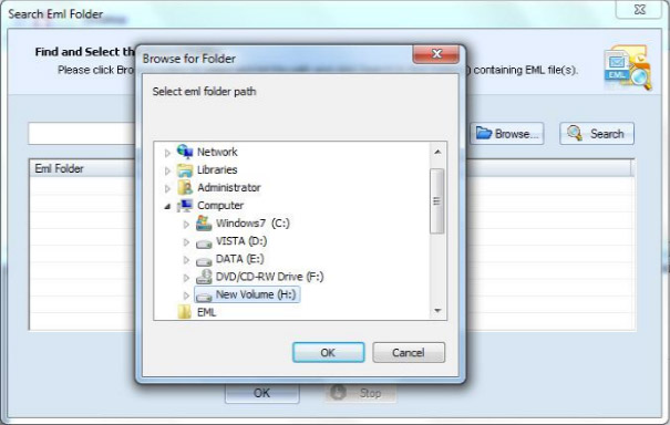 Select the EML/EMLX folder path