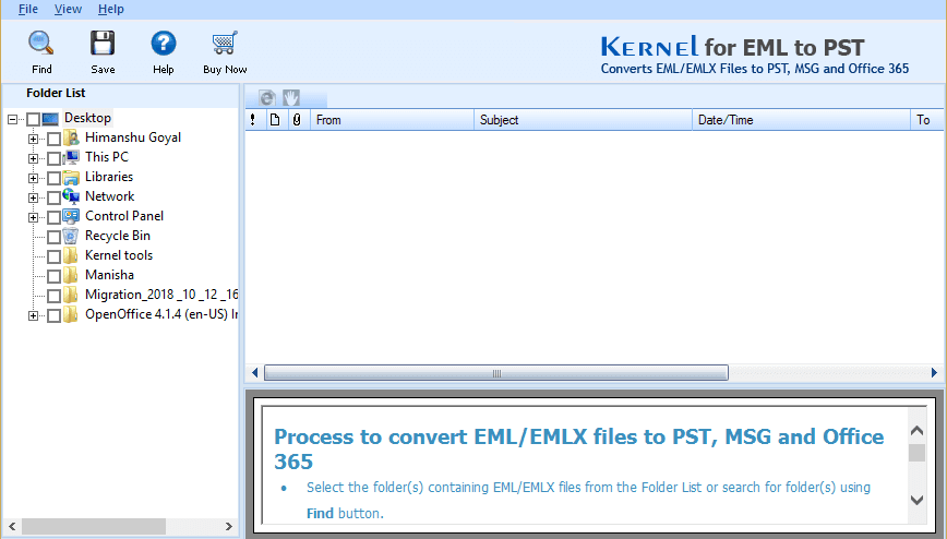 Welcome screen of Kernel Free EMLX Viewer
