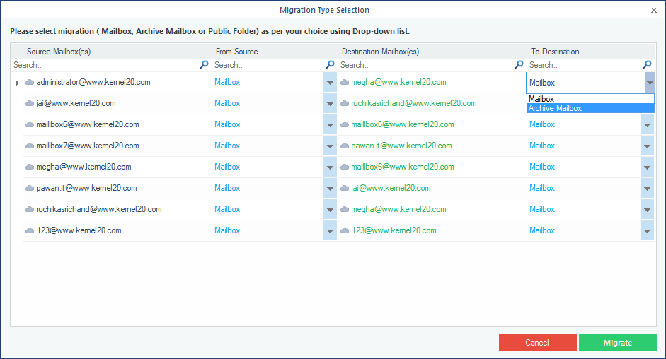 Select the migration choice mailbox, archive mailbox, and public folder