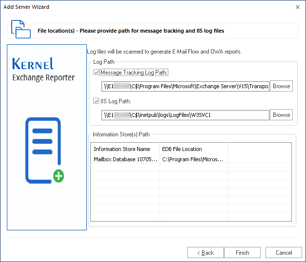 Input path for message tracking and Log files