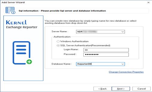 Provide SQL server and database information