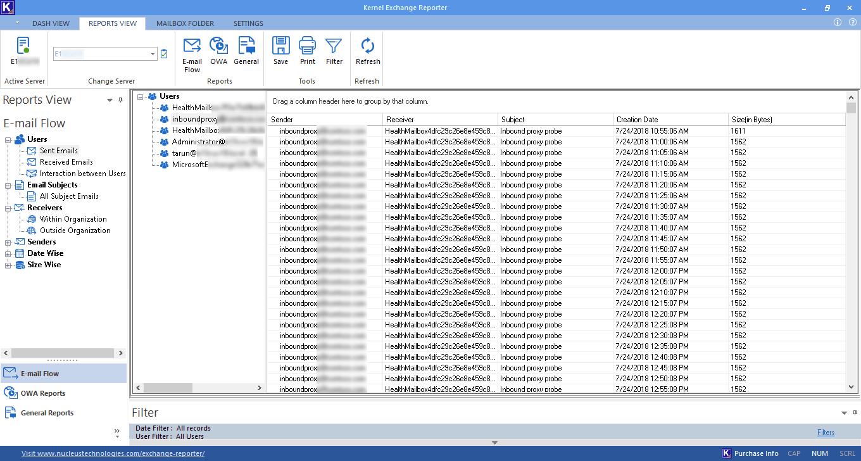 Check E-mail flow report