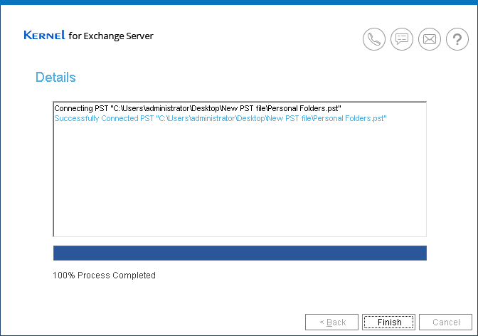 Successfully created new PST file