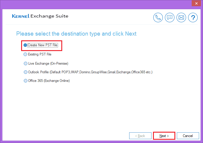 Select first option to create new PST file