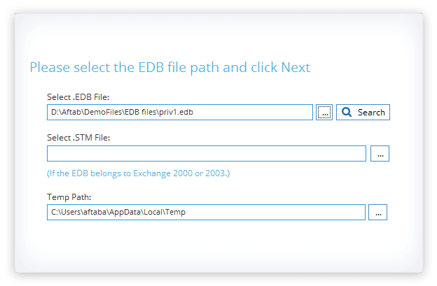 Select EDB files for recovery