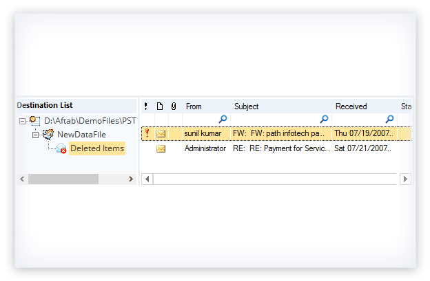 Browse and select an existing PST file