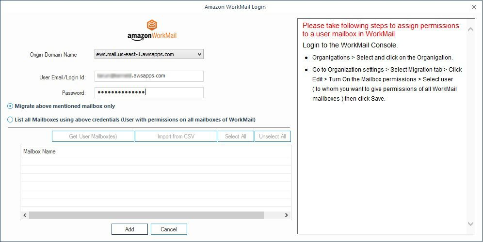 Adding WorkMail account to export