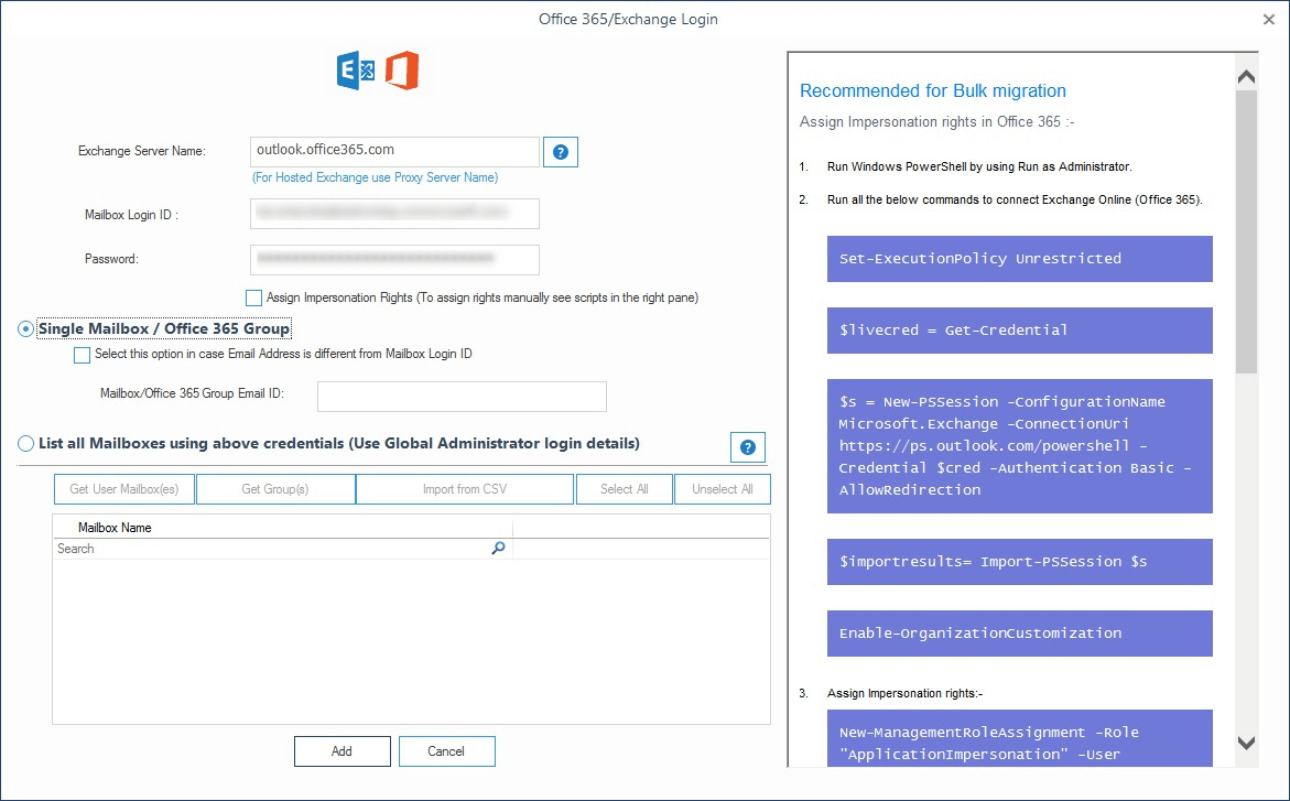 Adding Office 365 account credentials
