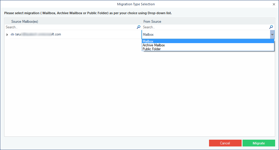 Selecting the type of data to export to PST