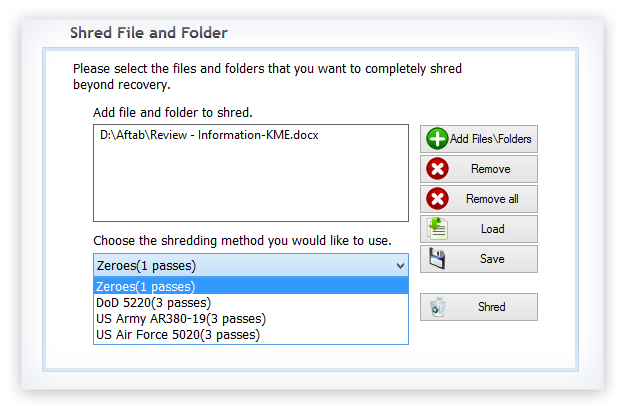 Add files/folders to shred