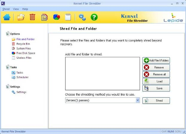 Main screen of the software