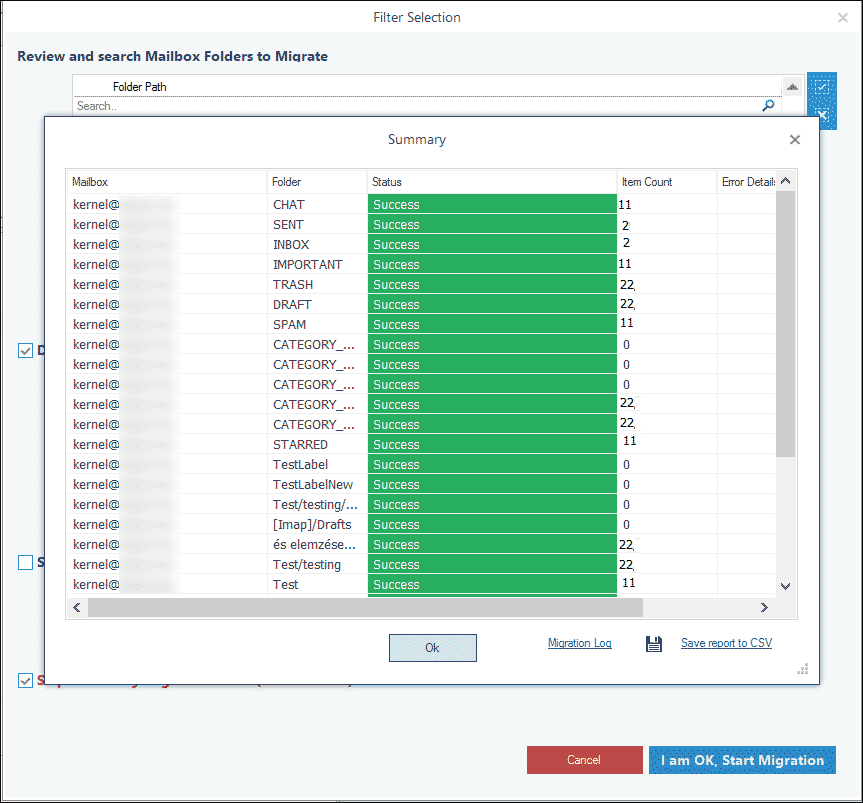 Save the backup report in the CSV file
