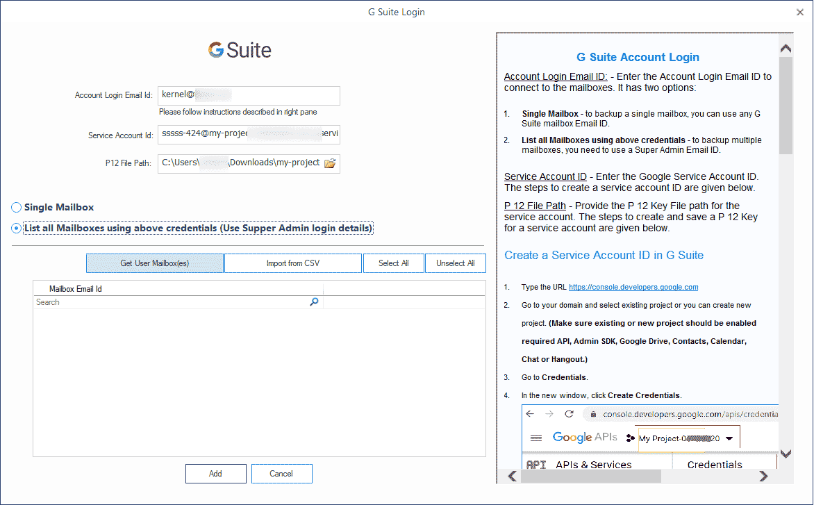 Input the G Suite details like Account email ID, Service Account ID