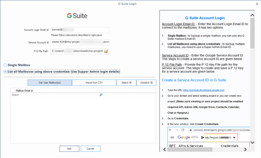 Using the G Suite Super Administrator account for multiple mailbox backup