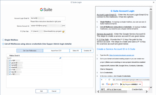 Selecting G Suite mailboxes for backup