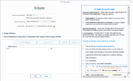 Adding G Suite account with login credentials