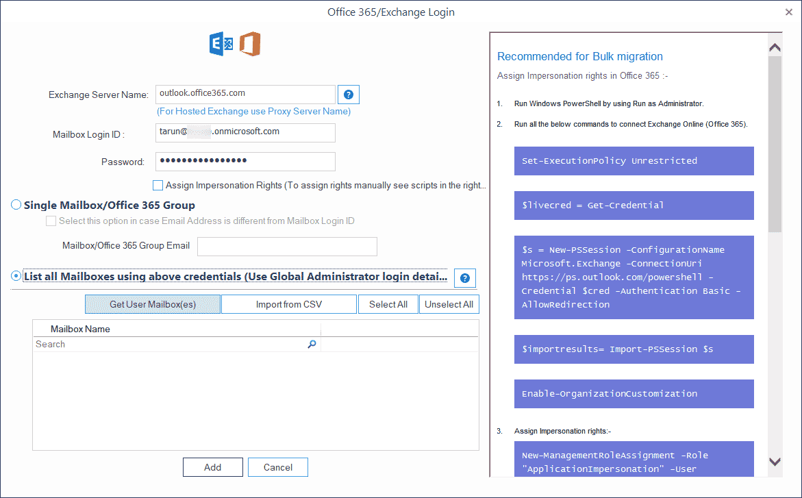 Input account details of the Office 365 Global Administrator