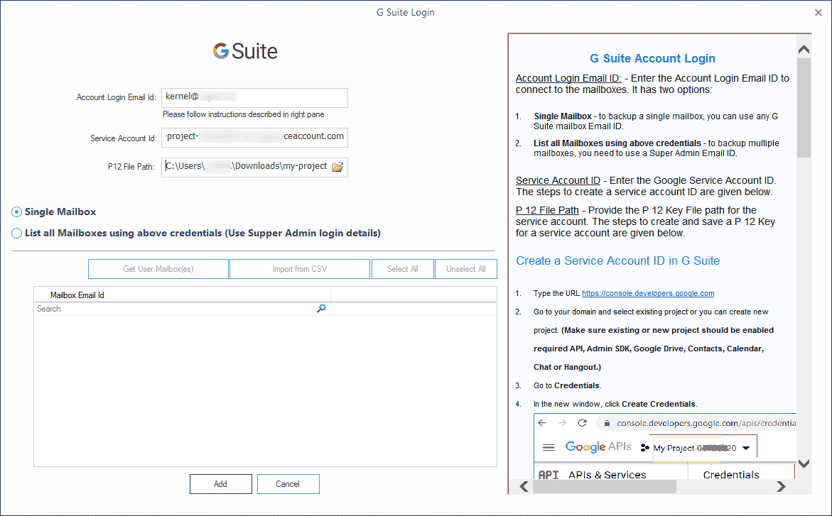 Provide the G Suite details