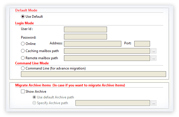 Select the mode to migrate single GroupWise mailbox