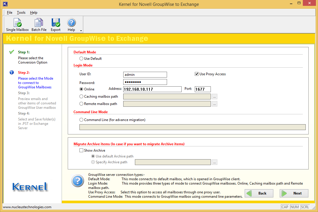 Specify User Id and Password of the mailbox to migrate from Novell GroupWise