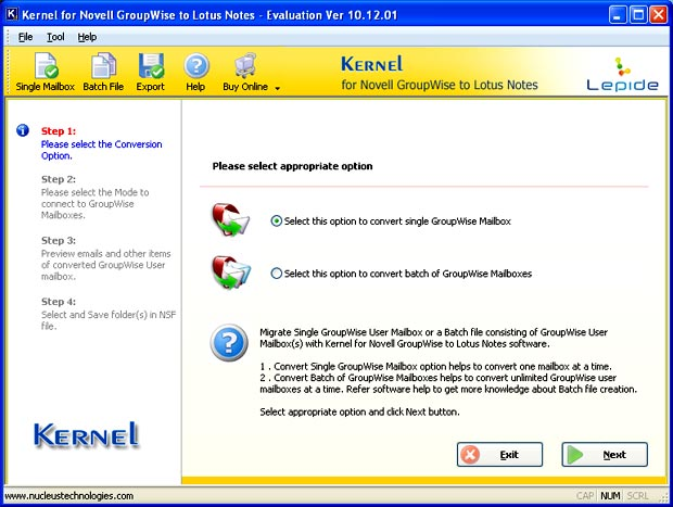 Main screen of Kernel for GroupWise to Lotus Notes