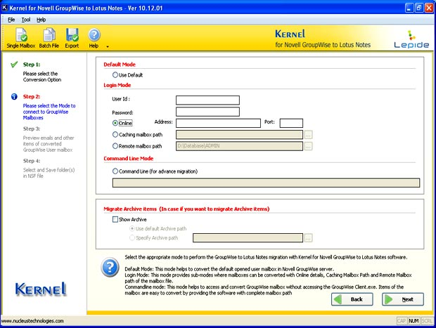 Screen illustrating the email conversion modes