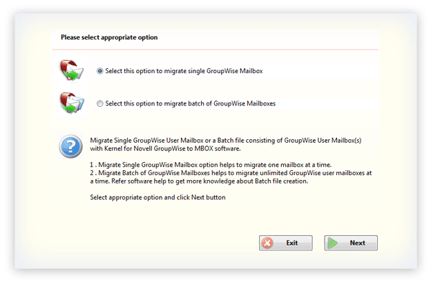 Select the required migration option