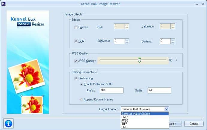 Additional settings for Image effects, JPEG quality