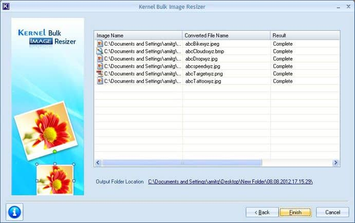 Converted images with link to Output Folder Location