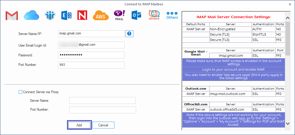 To add IMAP enabled Gmail account