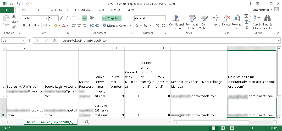 CSV file for multiple mailboxes migration – with mapping informaton