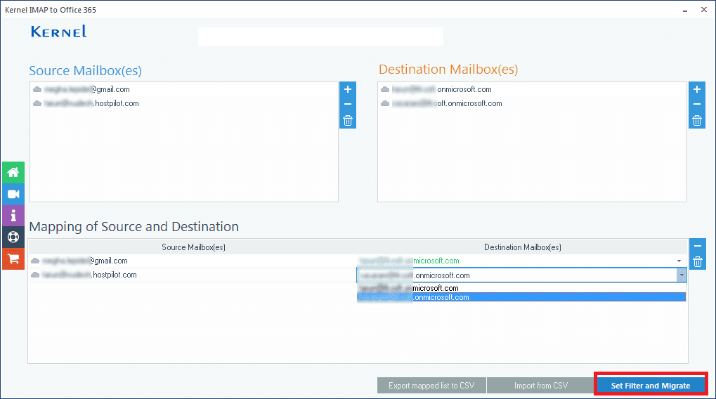 Source and Destination mailboxes added for multiple mailbox migration