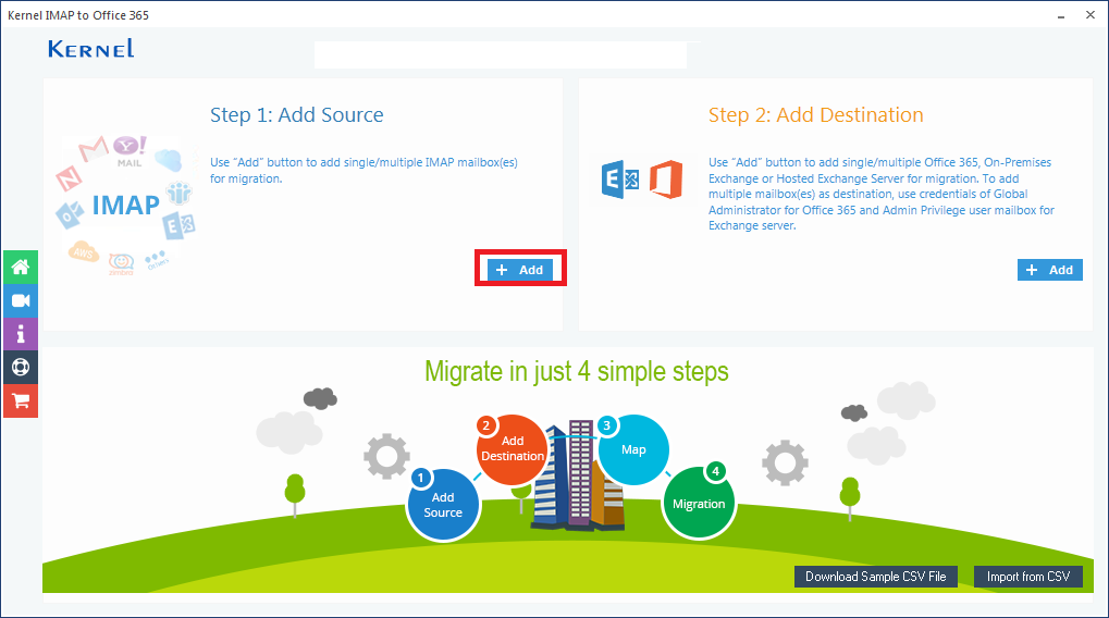 Launch the Kernel IMAP to Office 365 application