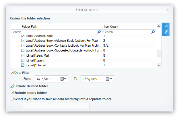 Filter the items of selected PST file