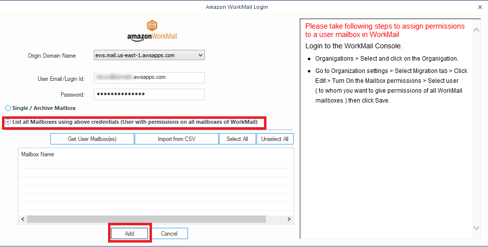Importing PST files to multiple Amazon WorkMail mailboxes