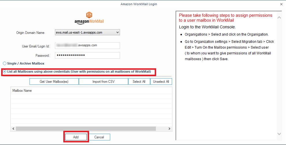 Enter the login credentials of Amazon WorkMail account
