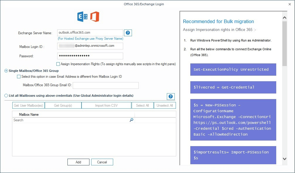 Map the source PST file to target 365 mailboxes